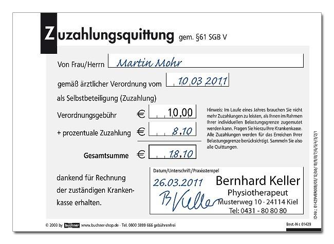 Zuzahlungsquittung neutral